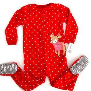 NWT Red Polka-Dot & Reindeer Footie Pajamas Size 4